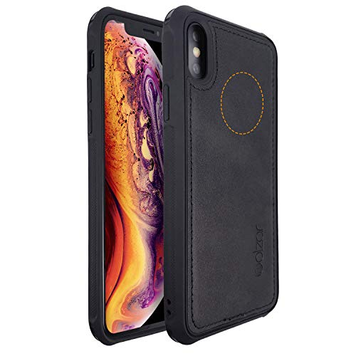 Molzar MAG Series iPhone Xs Case, iPhone X Case, Built-in Metal Plate for Magnetic Car Phone Holder, Support Qi Wireless Charging, Compatible with Apple iPhone Xs/X, Black