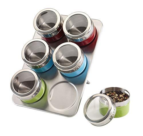 Conjunto de 7 piezas con especiero y 6 latas, acero inoxidable, magnético