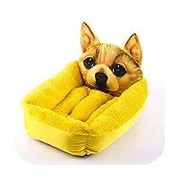 3Dプリントベッドペット暖かいベッド面白いソファクッション用品小さな大きなペットのための暖かい犬の家眠っている居心地の良い子犬の巣ケンネル-Gold-L