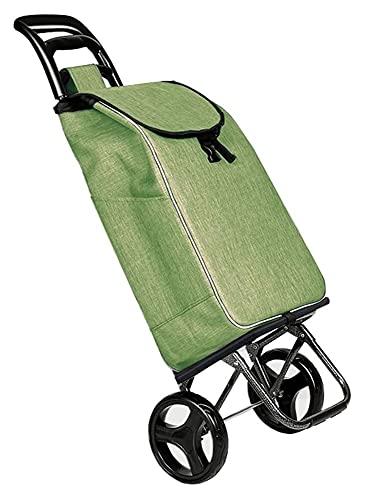 TabloKanvas Carrello della Spesa Pieghevole Carrello Domestico Car Portable 2 Ruota Silenzio Carrello dei Bagagli (Color : Green, Size : 55x35x20cm)