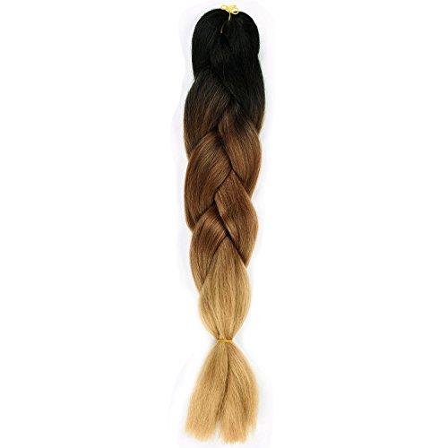 Silike Extensions de cheveux soyeux en 1grosse tresse style afro 3couleurs dégradées 61cm