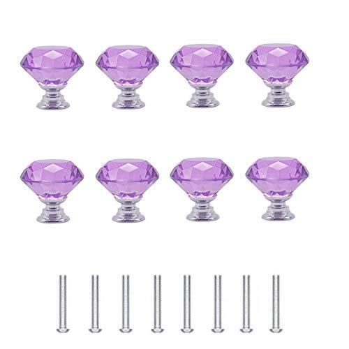 Concisea 8 Piezas 30mm Pomo de Cristal,Tirador para Muebles de Cristal,Cristal Cristalino Perilla con Tornillos,Perilla del Cajón del Gabinete,Tiradores de Muebles(Púrpura)