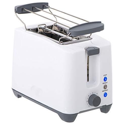 2 Scheiben Toaster 1000Watt Doppelt Toast Toastautomat Küchenzubehör inklusive Brötchenwärmer mit Krümelschublade Sandwich Weiss