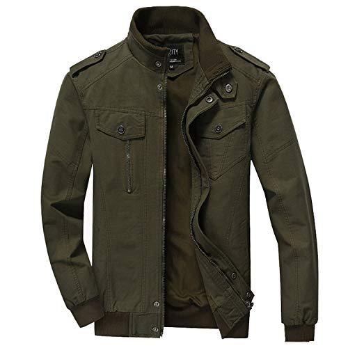 Men's Jacket Autumn Fashion Male Slim Fat Cotton Casual Bomber Jacket Men Clohing Outwear Coat Green XL