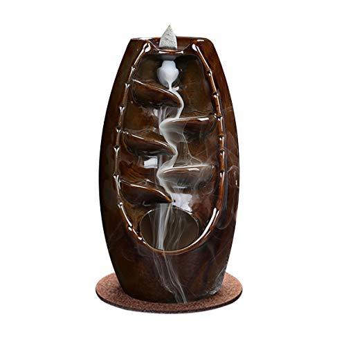 SkingHong Soporte de cerámica para incienso de cascada de incienso, soporte de reflujo de incienso para salón, decoración, aromaterapia, decoración del hogar, quemador de incienso, color marrón