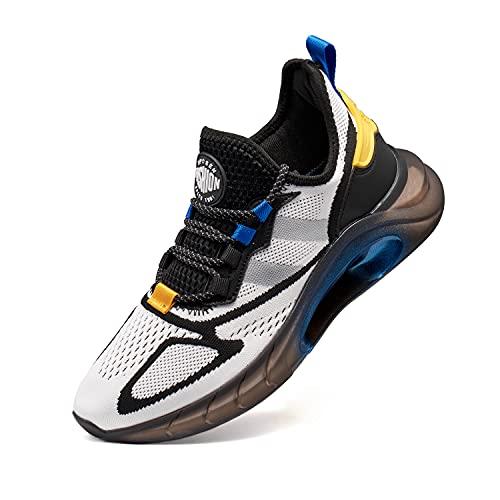 VcnKoso Scarpe da Corsa su Strada Ginnastica Scarpe Trail Running Scarpe Sneakers Antiscivolo Outdoor Scarpe Camminata Traspirante Indoor Sportive Scarpe Uomo Donna Bianco 38