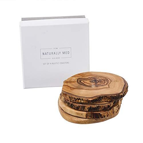 Naturally Med NM/OL995/B - Set di 4 sottobicchieri rustici in legno di ulivo