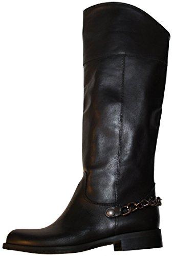 Vera Gomma 354 Damen Stiefel, echtes Leder, Wadenhohe, Made in Italy, schwarz 38.