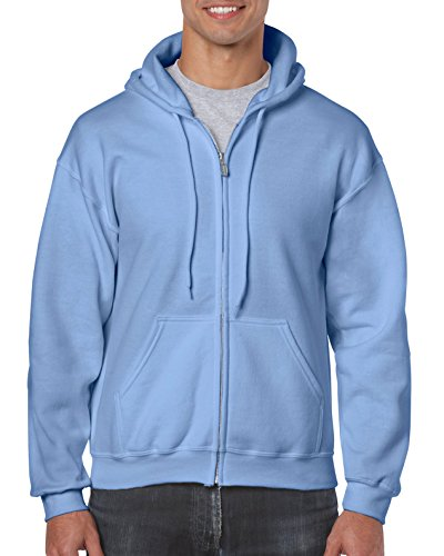 Gildan Men's Fleece Zip Hooded Sweatshirt Carolina Blue Medium