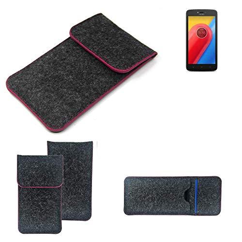 K-S-Trade Filz Schutz Hülle Für Lenovo Moto C LTE Schutzhülle Filztasche Pouch Tasche Hülle Sleeve Handyhülle Filzhülle Dunkelgrau Rosa Rand