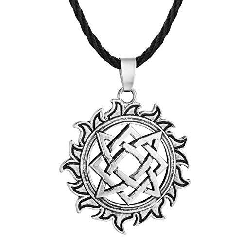 YioKpro Nuevo Colgante Cuadrado, Collar pagano de talismán de Rueda eslava con dijes, joyería Antigua para Hombre, Accesorios de Guerrero Vikingo
