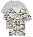 Amazon Essentials Men's 2-Pack Regular-Fit Short-Sleeve V-Neck T-Shirt, Grey Camo/Grey Heather, X-Large