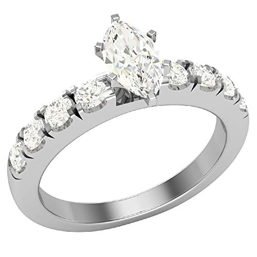 Anillos de compromiso para mujer, talla marquesa de oro blanco de 14 quilates, 0,50 quilates (L, I1), certificado GIA (tamaño del anillo 5,5)