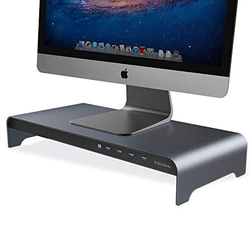 Vaydeer Aluminium Monitorständer Riser mit 4 USB Anschlüssen zur Unterstützung von Datenübertragung, Tastatur und Mausablage Desk Organizer bis zu 32 Zoll für Computer PC Monitor und Laptops (Grau)
