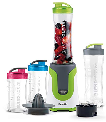 Breville VBL214 Blend Active ColourMix Family Personal Blender, Smoothie Maker and Citrus Juicer with 4 Portable Blending Bottles, 300 W, Multi-Colour