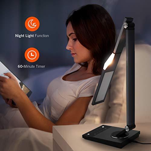 Lámpara de escritorio LED, TaoTronics–elegante cuadro de metal, lámparas de oficina luz con USB puerto de carga, 5modos de color, 6niveles de brillo, función de memoria/Favoritos, temporizador, luz nocturna