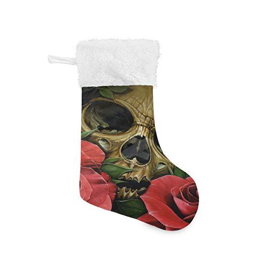 Christmas Socks Skull Roses Personalized Santa Stocking 2pcs Set Gift Kids Fireplace/Restaurant/Hotel/Club/bar for Xmas Tree Decor