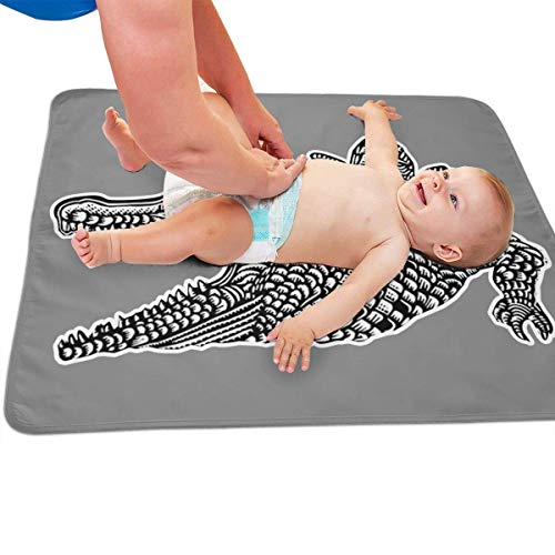 Zcfhike Baby Portable Diaper Changing Pad Drawing Crocodile Urinary Pad Baby Changing Mat 31.5' x25.5''