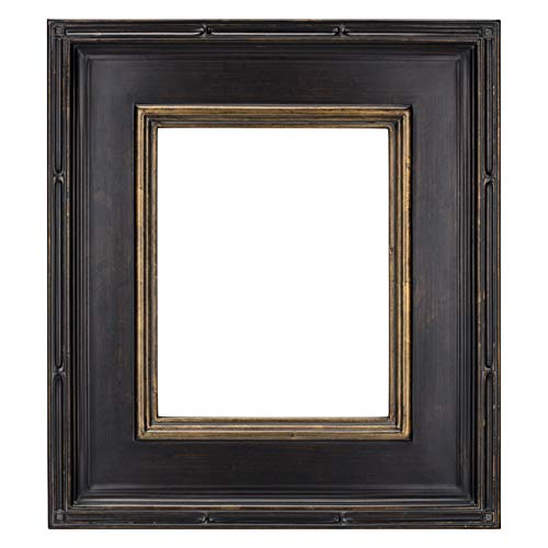 Creative Mark Museum Plein Aire Wooden Art Picture Frame Museum Quality Closed Corner Ready Made 3.5 Inch Wide Frames - [Antique Black w/Gold Detail - 9x12]