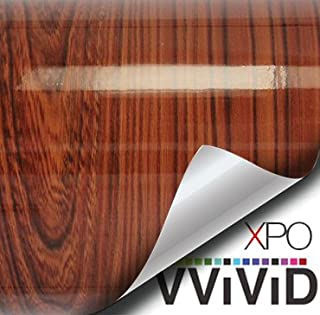 VViViD High Gloss Red Cedar Striped Wood Grain Faux Finish Textured Vinyl Wrap Roll Sheet Film for Home Office Furniture DIY No Mess Easy to Install Air-Release Adhesive (1ft x 48 Inch)