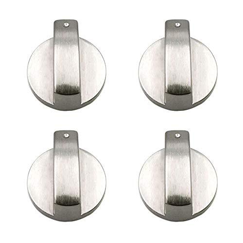 JINXM 4 Stück Gasherd Knöpfe Drehknopf Herd Gasherd Regler Adapter für Küchenherd Gasherd Backofen Küchengeschir(Silber)