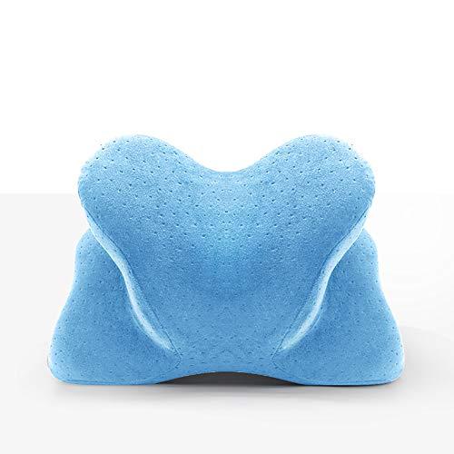 Reiskussen, vliegtuig-nekkussen Traagschuim-nekkussen, vlucht kussen Reisset Compact en ademend voor slapen Slapen in vliegtuig, auto of kantoor, slaapmasker,Light blue