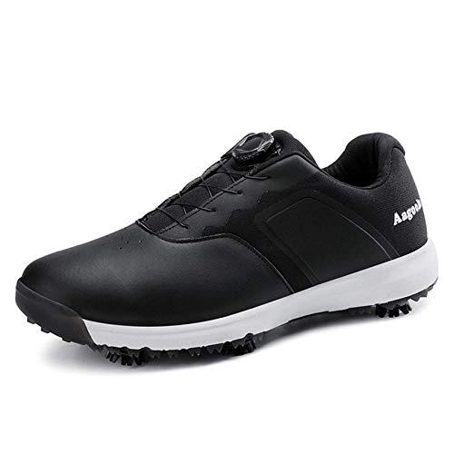 FJJLOVE Zapato De Golf para Hombres, Impermeable Casual Sport Shoe Comfort Spiked Golf Boots Transpirable Zapatos De Entrenador De Golf,Negro,40
