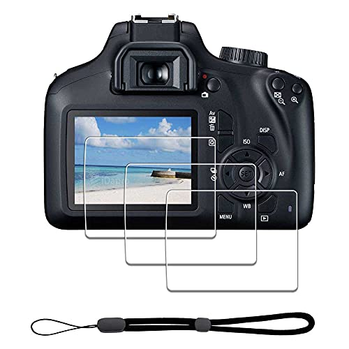 Screen Protector for Canon EOS 4000D / Rebel T100 / 3000D + Hand Lanyard [3+1 Pack] ,iDaPro Tempered Glass Easy Installation