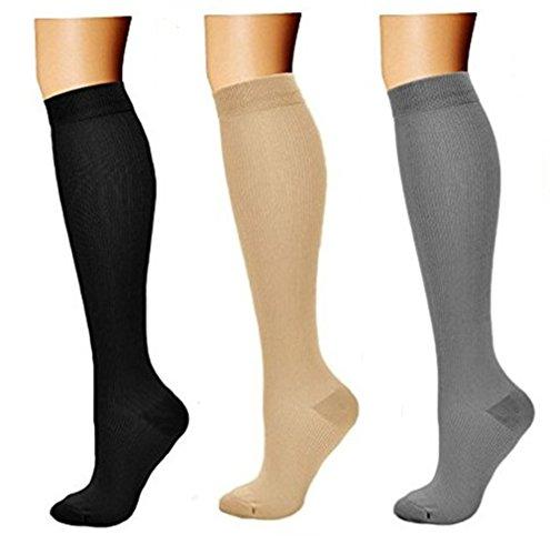 feifanshop 3 Paar Kompressionsstrümpfe Kompressionssocken Compression Socks Strümpfe Kompression Laufsocken Thrombosestrümpfe für Bild
