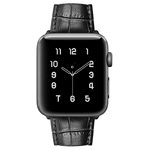 MARGE PLUS Compatible with Apple Watch Band 44mm 42mm, Alligator Grain Calf Genuine Leather Strap Replacement for iWatch Series 5/4/3/2/1 Sport and Edition, Black