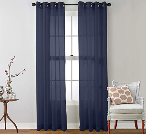 """Ruthy's Textile 2 Piece Window Sheer Curtains Grommet Panels 54"""" X 120"""" Total 120"""" X 120"""" Inch Length for Kitchen,Bedroom/Living Room Color: Navy"""