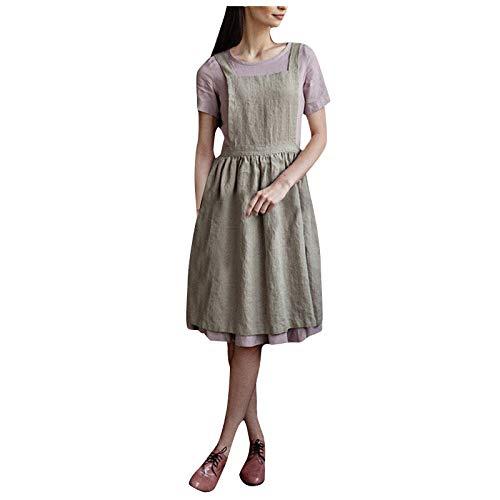 Delantal de Moda Casual de Color Liso para Mujer Vestido Ligero con Tirantes Cruzados