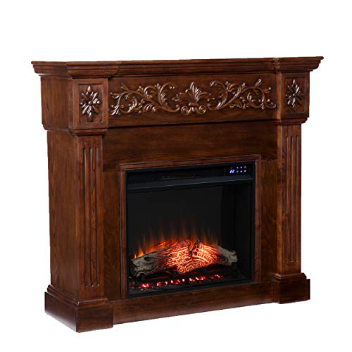 SEI Furniture Calvert Fireplace, New Espresso