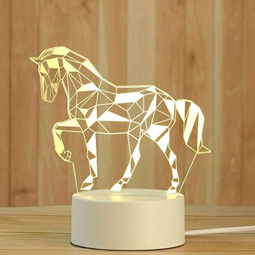 Creativity 3D Illusions Animal Horse Lámpara LED Luz nocturna 3 colores Regulable Botón Interruptor de noche Lámpara para niños recargable USB Lámpara de mesa perfecta decoración de dormitorio