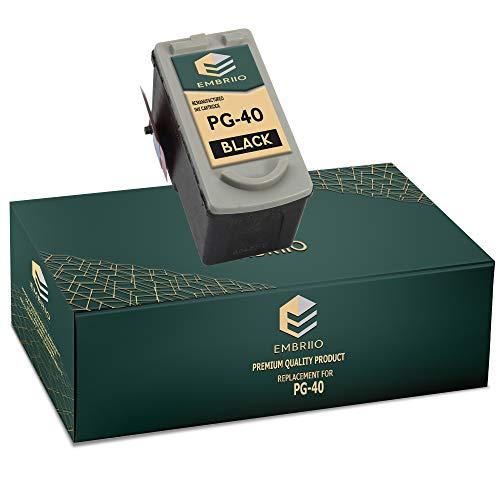 EMBRIIO PG-40 Negro Cartucho de Tinta Reemplazo para Canon Pixma iP2600 MP140 MP460 iP1800 iP1900 iP2500 MP190 MP210 MP220 MP170 MP180 MP160 MP450 MP470 MP150 MX300 MX310 iP1200 iP1600 iP2200