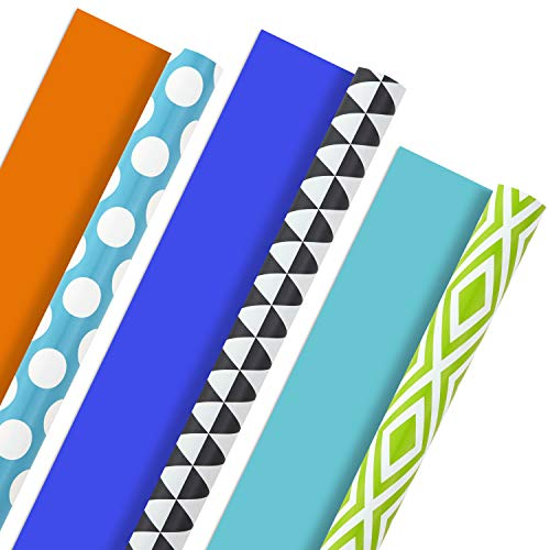 Hallmark Reversible Wrapping Paper, Brights - Green, Gray, Teal Prints & Orange, Blue, Purple Solids (Pack of 3, 120 sq. ft. ttl.) for Birthdays, Graduations, Father's Day, Baby Showers, Halloween