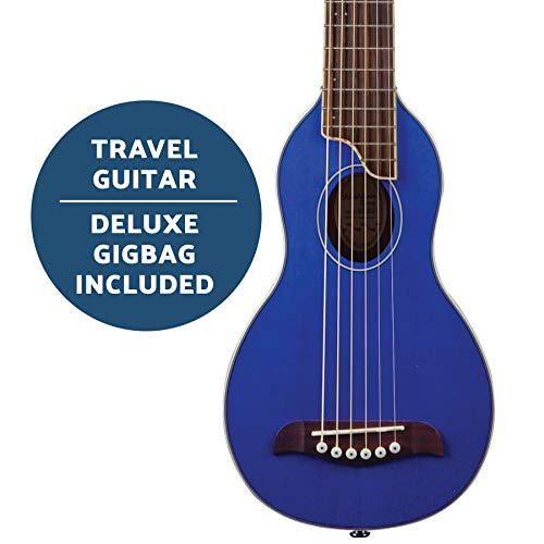 Washburn Rover 6 String Acoustic Guitar Pack, Right, Trans Blue, Full...