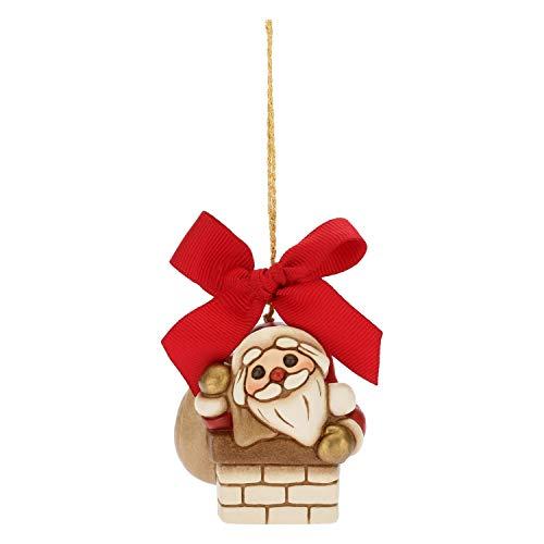 THUN - Mini Babbo Natale nel Camino da Appendere - Addobbo Natalizio per Albero con Fiocco Rosso - Ceramica - I Classici