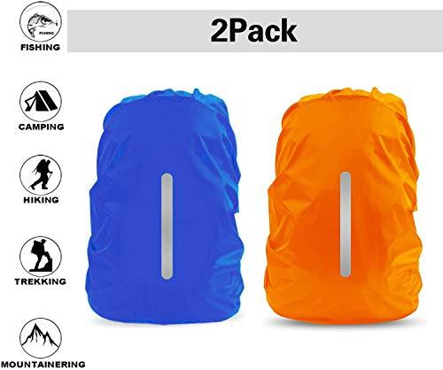 FXCIST 2er Regenhülle Rucksack Schulranzen Regenschutz wasserdichte Regenüberzug Ranzen Rucksackschutz für Outdoor Camping Wandern mit Reflektorstreifen Sicherheitshülle (30L-40L) (Blau+Orange)