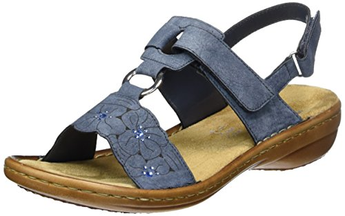 Rieker Damen Sandalen, Frauen Riemchensandalen, Sommersandale Sandalette sommerschuh bequem flach Freizeit leger,Blau(Jeans),39 EU / 6 UK