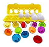 J-hong Matching Eggs-Educational Color & Shape Recognition Sorter Puzzle Skills Study Toys, for Easter Travel Game Early Learning Match Egg Set, Suitable More Than 18+ Months Toddler Kids.(12 Eggs)
