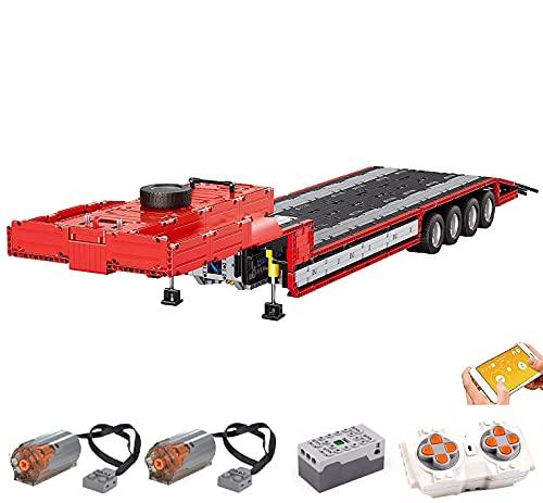 KEAYO Mould King 19005T - Remolque de ingeniería para tractor, modelo de carga profunda con motor, grandes bloques de sujeción, compatible con camiones de tecnología Lego.