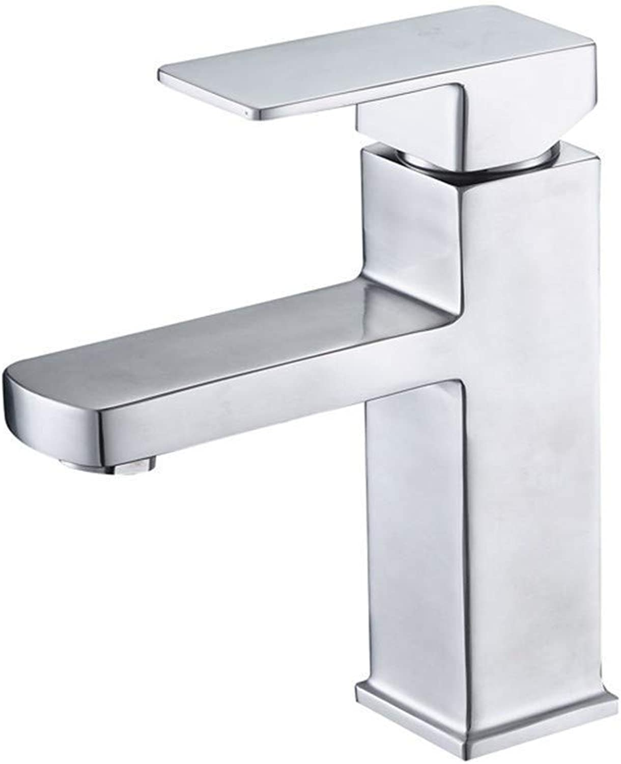 Water Tap Modern Bathroom Bathroom Single Handle Hot and Cold Square Single Hole Faucet 304 Stainless Steel Square Washbasin Sink Faucet
