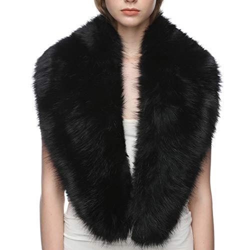 Dikoaina Extra Large Women's Faux Fur Collar for Winter Coat,Black,120cm
