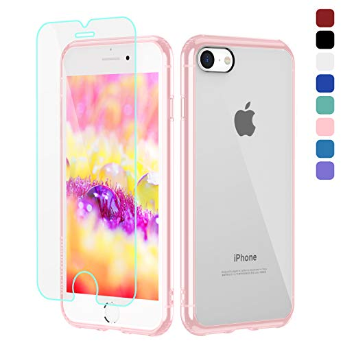 b1b byoneby iPhone SE 2020/iPhone 7 Case/iPhone 8 Case[Glass Screen Protector][Anti-Scratch][Anti-Yellow], 4.7-inch,Ultra Slim Crystal Clear Hard PC Back Rubber Shockproof Bumper Air Cushion Cover