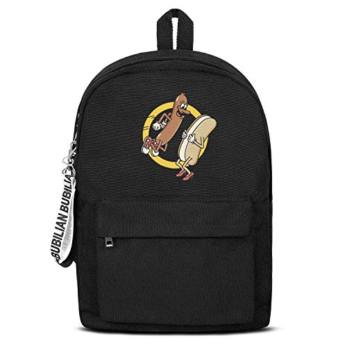Nudquio Unisex Backpack Hot Dog Jumping Into a Bun Classic Bookbag Backpack