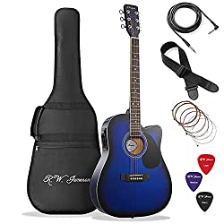 Best Acoustic Electric Guitar under 200 US Dollars - Jameson Guitars Blue Fullsize Thinline Acoustic Guitar