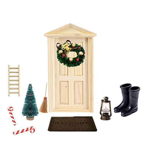 Super Idee Wichteltür Weihnachten Set Miniatur Wichtel Set Wichtel Tür Nissedor mit Zubehör Stiefel Laterne Weihnachtsbaum Dekokranz Holzleiter Wichtelbesen Zuckerstange Verzierungen für Weihnachten