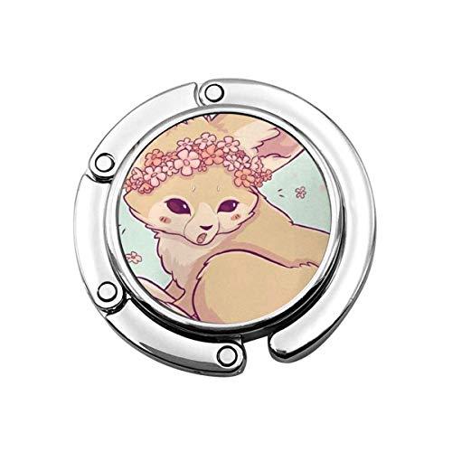 Corona de Flores Fennec Fox Gancho para Monedero Colgador Plegable para Bolso Colgador para Mesa para Bolso Plegable pcs
