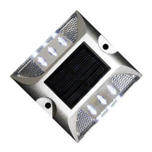 ソーラー 充電 道路鋲 LED ライト 点滅 両面テープ付き 耐重量 20t 夜間 自動点滅 安全 駐車場 側溝 縁石 両面テープ付き… (ホワイト2個セット)